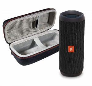 JBL Flip 4 Portable Bluetooth Wireless Speaker Bundle with Protective Travel Case - Black Waterproof